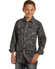 Rock & Roll Cowboy Boys' Black Paisley Print Long Sleeve Snap Shirt, , hi-res