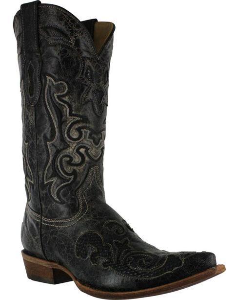 Corral Men's Vintage Lizard Overlay Western Boots, Black, hi-res