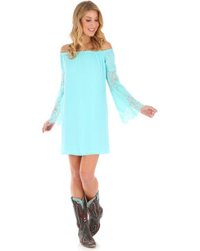 Wrangler Women's Bell Sleeve Dress, Light Blue, hi-res