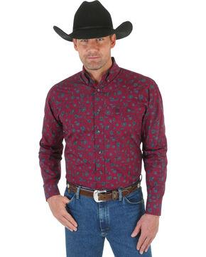 Wrangler George Strait Men's Burgundy Print Western Shirt, Burgundy, hi-res