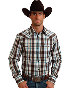 Stetson Men's Plaid Long Sleeve Western Shirt, Brown, hi-res