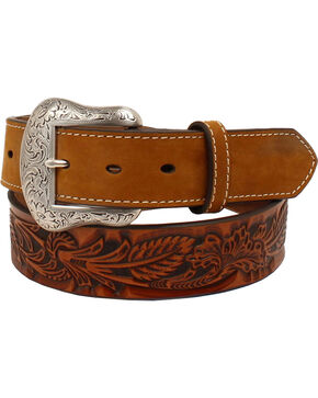 Nocona Men's Tan Floral Embossed Ivory Tabs Belt , Tan, hi-res