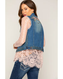 Shyanne® Women's Embroidered Vest, Blue, hi-res