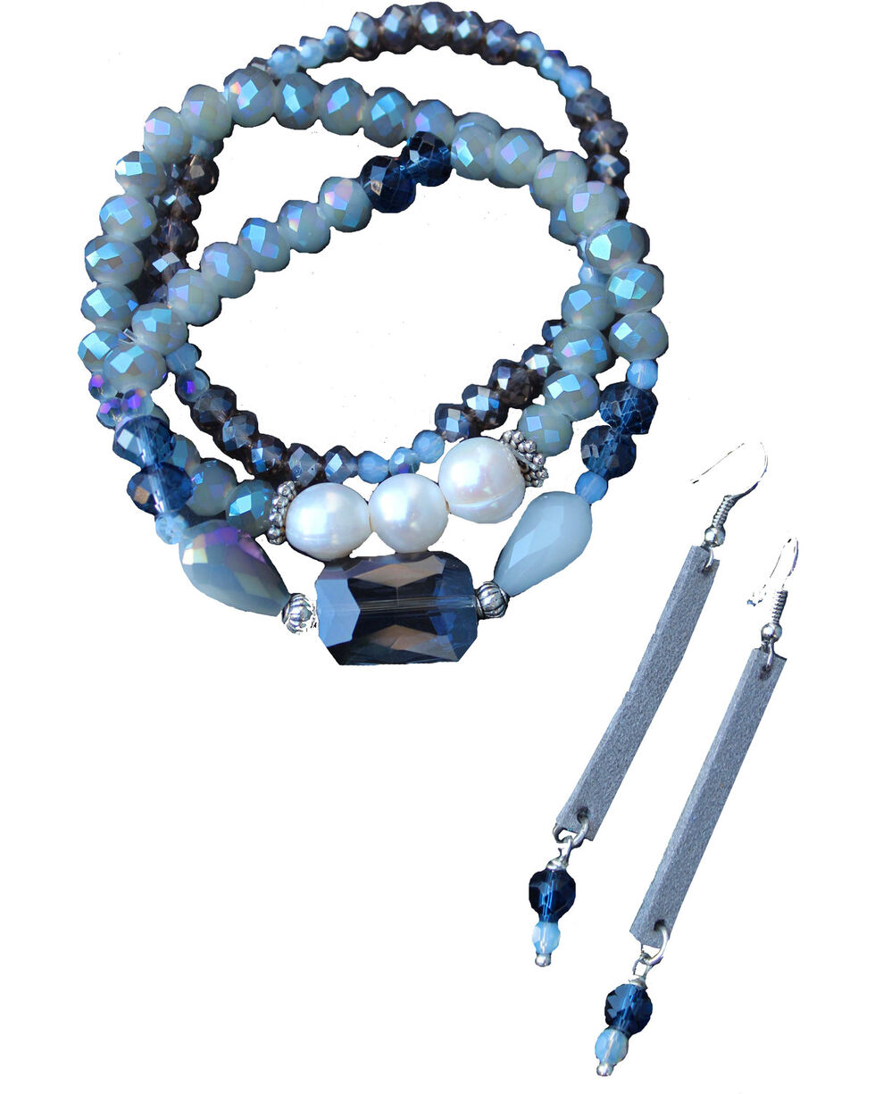 2 Queen B's Women's Blue Bracelet and Earrings Jewelry Set , Blue, hi-res