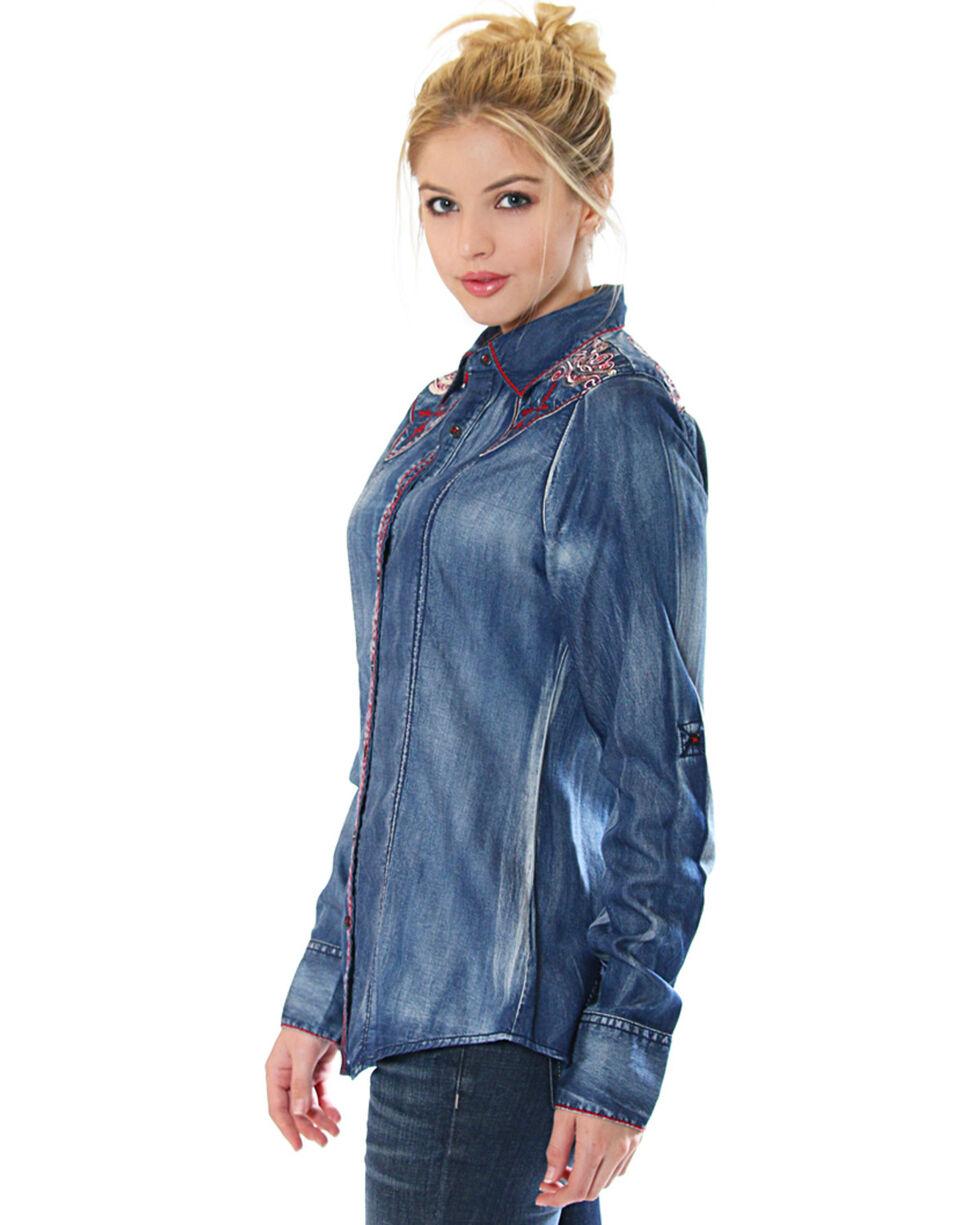 Grace in LA Women's Denim Button Down Shirt with Embroiderey, Indigo, hi-res