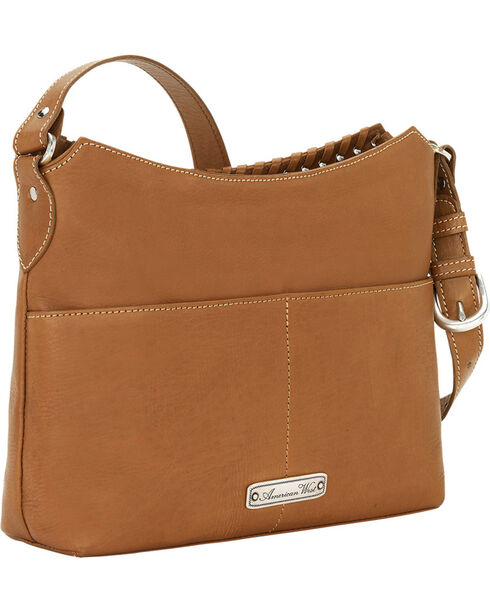 American West Women's Harvest Moon Zip Top Shoulder Bag, Tan, hi-res