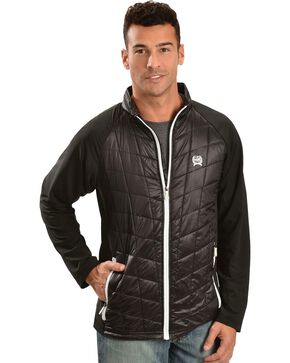 Cinch Men's Embroidered Track Jacket, Black, hi-res
