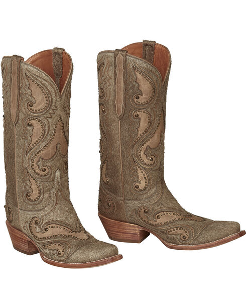Lucchese Natural Lyla Calf Hair Cowgirl Boots - Snip Toe , Natural, hi-res