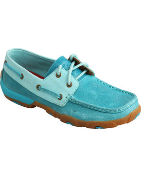 Twisted X Women's Ocean Driving Mocs, Blue, hi-res