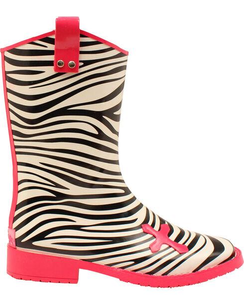 Blazin Roxx Jane Zebra Cross Rain Boots - Square Toe , Blk/white, hi-res