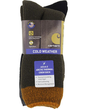 Carhartt Brown Arctic Thermal Crew Socks - 2 Pack, Brown, hi-res