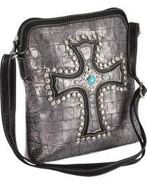 Blazin Roxx Metallic Studded Croc Print Crossbody Bag, , hi-res