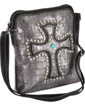 Blazin Roxx Metallic Studded Croc Print Crossbody Bag, Silver, hi-res