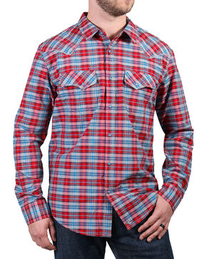 Cody James® Men's Dodge City Plaid Long Sleeve Shirt, Red, hi-res