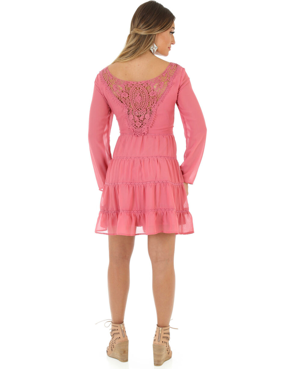 Wrangler Women's Scoop Neck Crochet Back Dress, Pink, hi-res