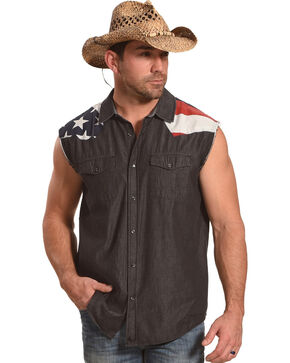Cody James Men's Union Americana Sleeveless Shirt, Black, hi-res