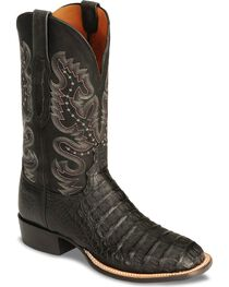 Lucchese Handcrafted Waxy Hornback Caiman Cowboy Boots - Square Toe, Black, hi-res