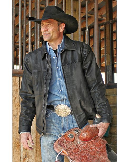 STS Ranchwear Men's Rifleman Black Leather Jacket - Big & Tall - 2XL & 3XL, Black, hi-res