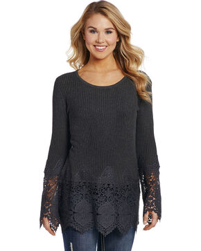 Cowgirl Up Women's Black Lace Cuffs and Hem Sweater Top , Grey, hi-res