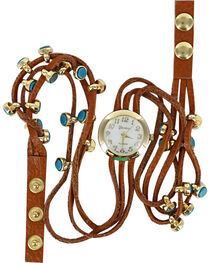 Shyanne Women's Golden Turquoise Beaded Wraparound Watch , , hi-res