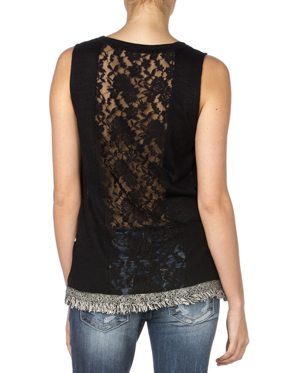 Miss Me Women's Fringe Hem Lace Back Sleeveless Top, Black, hi-res