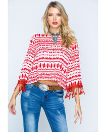 Cowgirl Up Southwestern Print Scoopneck Top, , hi-res