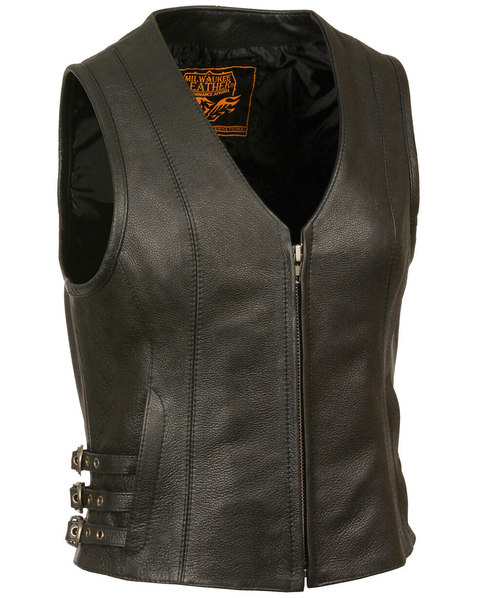 Milwaukee Leather Women's V Neck Zipper Front Side Buckle Vest - 4X, Black, hi-res