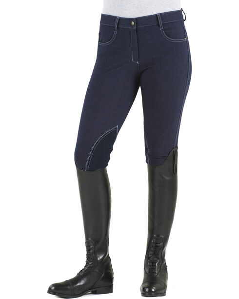 Ovation Women's Euro Jean Zip Front Knee Patch Breeches, Indigo, hi-res