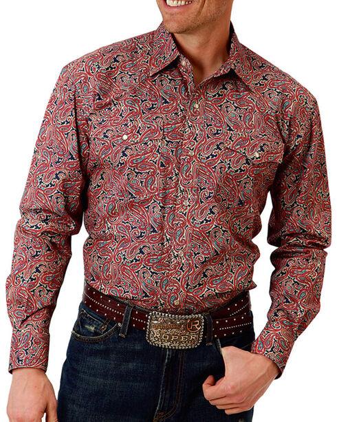 Roper Men's Western Long Sleeve Snap Shirt, Red, hi-res