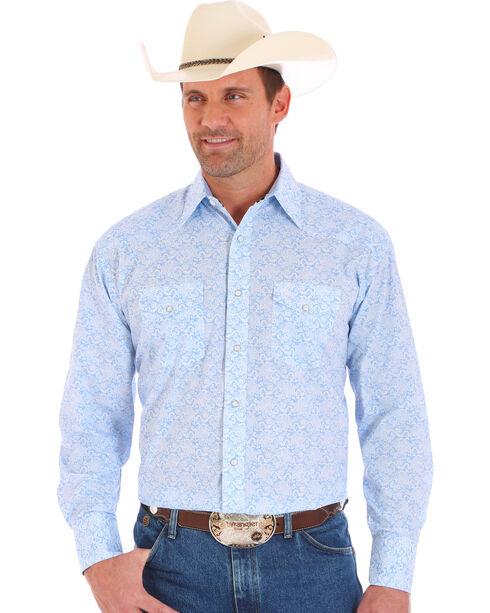 Wrangler George Strait Men's Long Sleeve 2 Pocket Snap Paisley Print Shirt - Big and Tall, Blue, hi-res