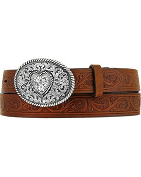 Justin Boots Girl's Western Scroll Heart Belt, , hi-res