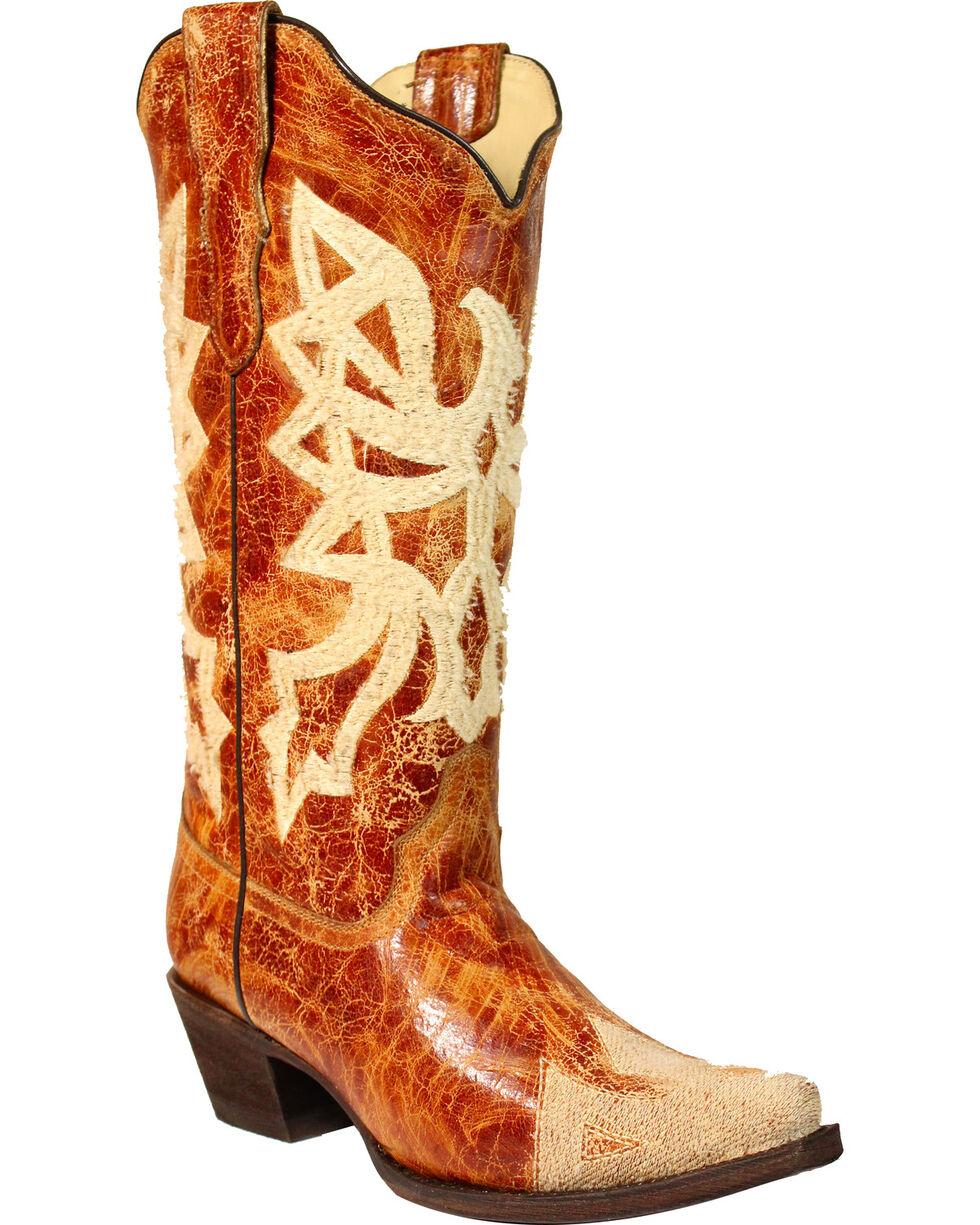 Corral Women's Orange Embroidered Western Boots - Snip Toe , Orange, hi-res