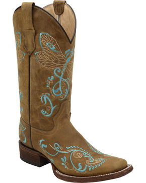 Corral Women's Embroidered Dragonfly Western Boots, Tan, hi-res