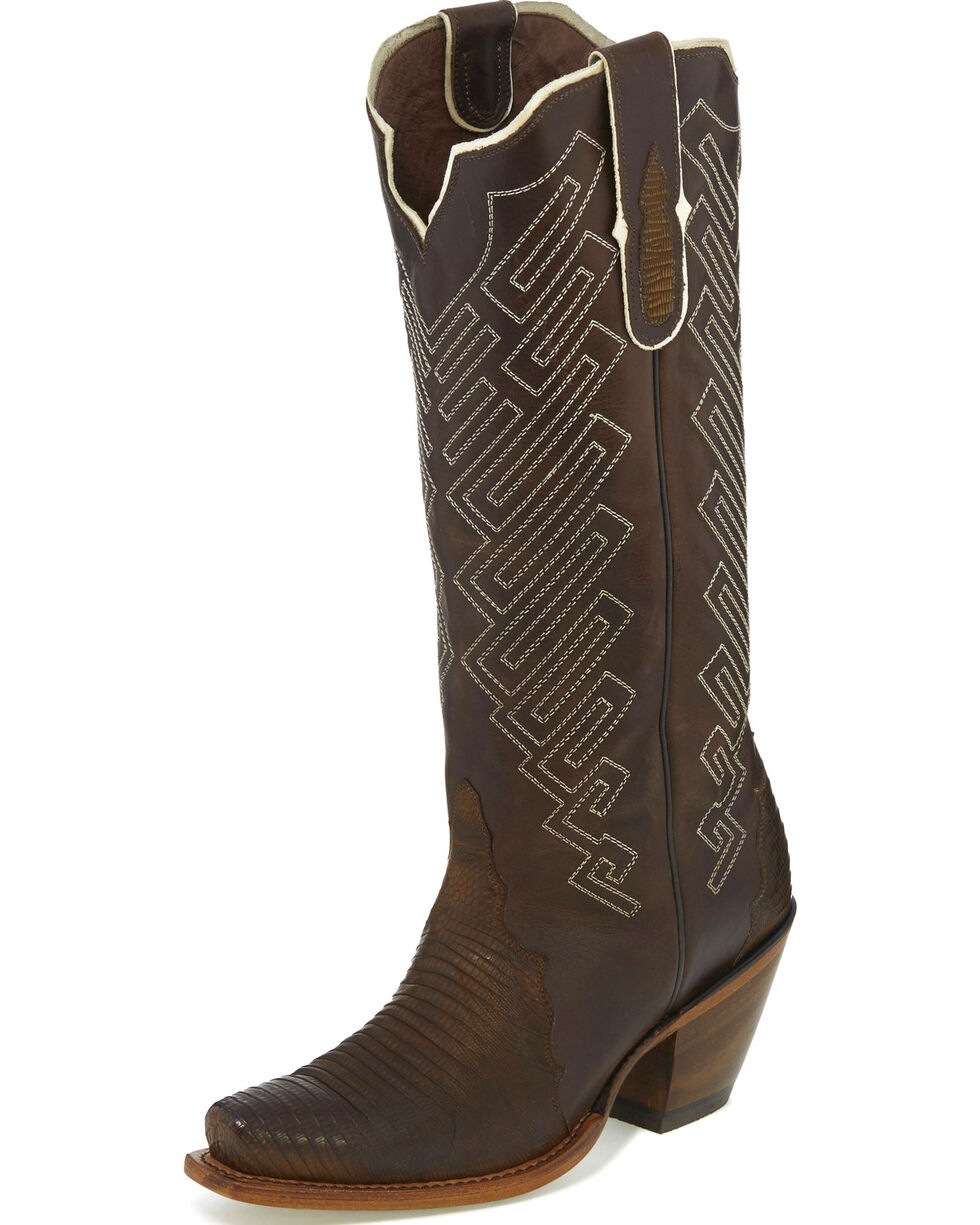 Tony Lama Women's Brown Teju Lizard Cowgirl Boots - Snip Toe, , hi-res