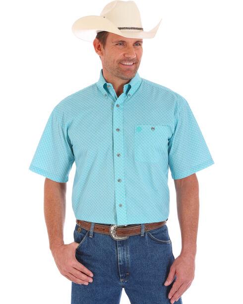 Wrangler Men's George Strait Pattern Short Sleeve Shirt, Turquoise, hi-res