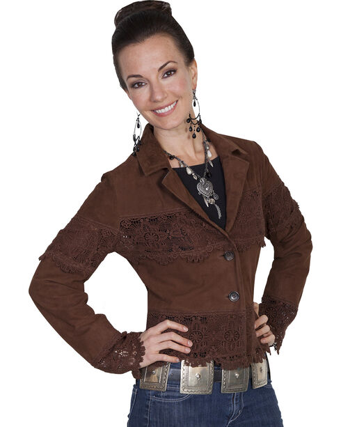 Scully Leatherwear Lamb Suede Lace Panel Jacket, Brown, hi-res