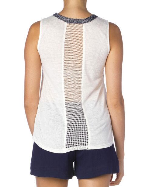 Miss Me Women's White Slub Knit Embroidered Tank Top, Off White, hi-res