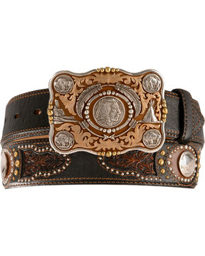 Tony Lama Heritage Buffalo Concho Leather Belt - Reg & Big, Black, hi-res
