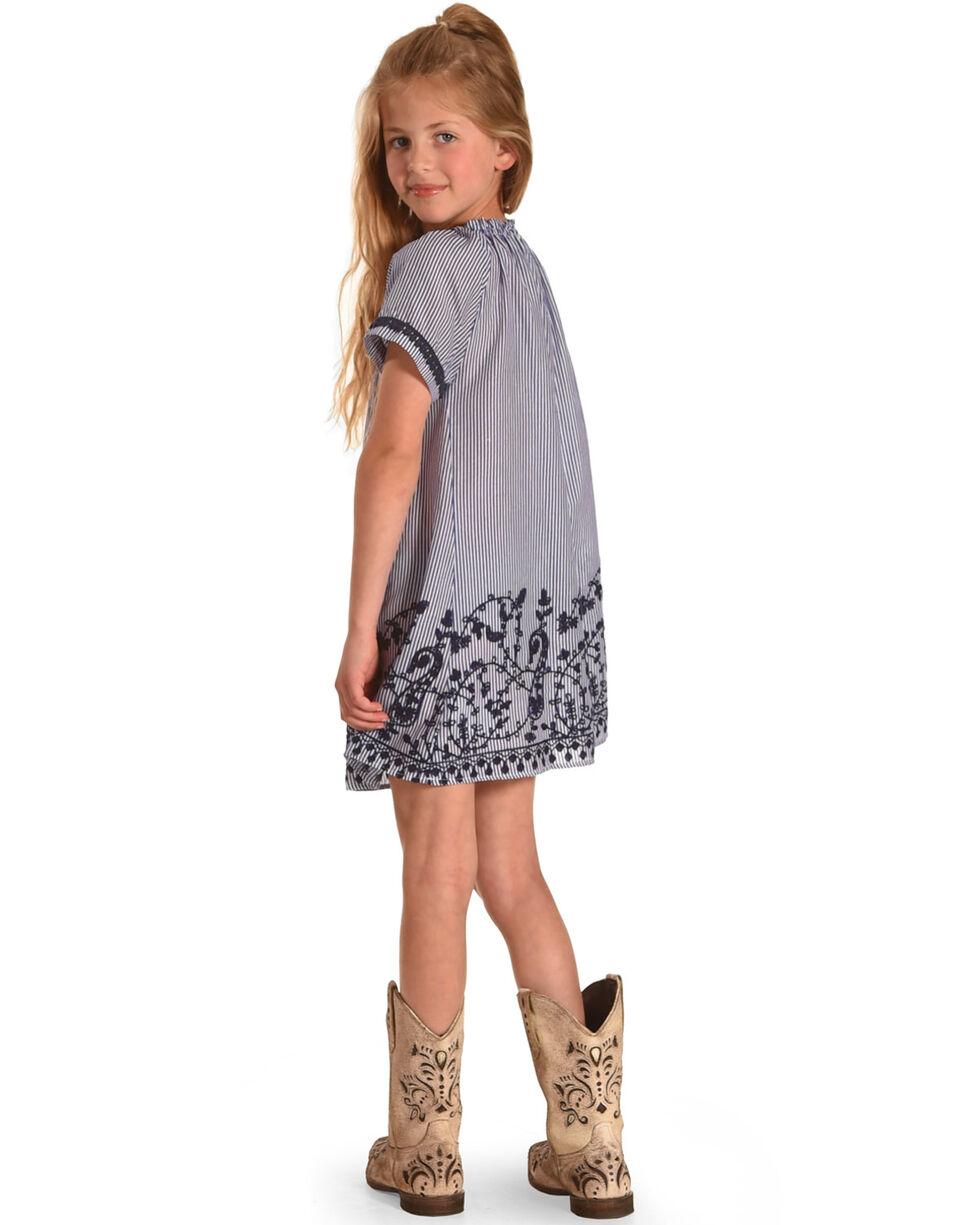 Idol Mind Girls' Embroidered Peasant Dress, Blue, hi-res