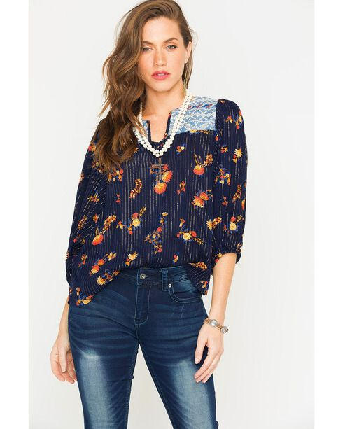 Miss Me Women's 3/4 Sleeve Floral Metallic Top , Navy, hi-res