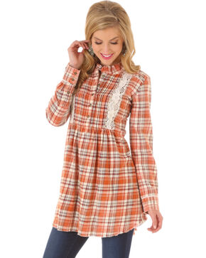 Wrangler Women's Crochet Plaid Tunic Dress, Brown, hi-res