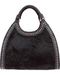 Montana West Delila Handbag 100% Genuine Leather Hair-On Hide Collection in Black, , hi-res