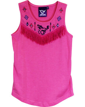 Cowgirl Hardware Youth Native Fringe Tank, Pink, hi-res