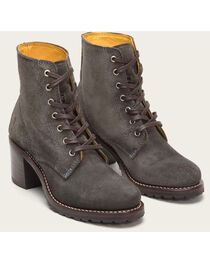 Frye Women's Charcoal Sabrina 6G Lace Up Boots - Round Toe , , hi-res