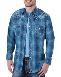 Rock 47 by Wrangler Men's Plaid Embroidered Long Sleeve Western Shirt, , hi-res