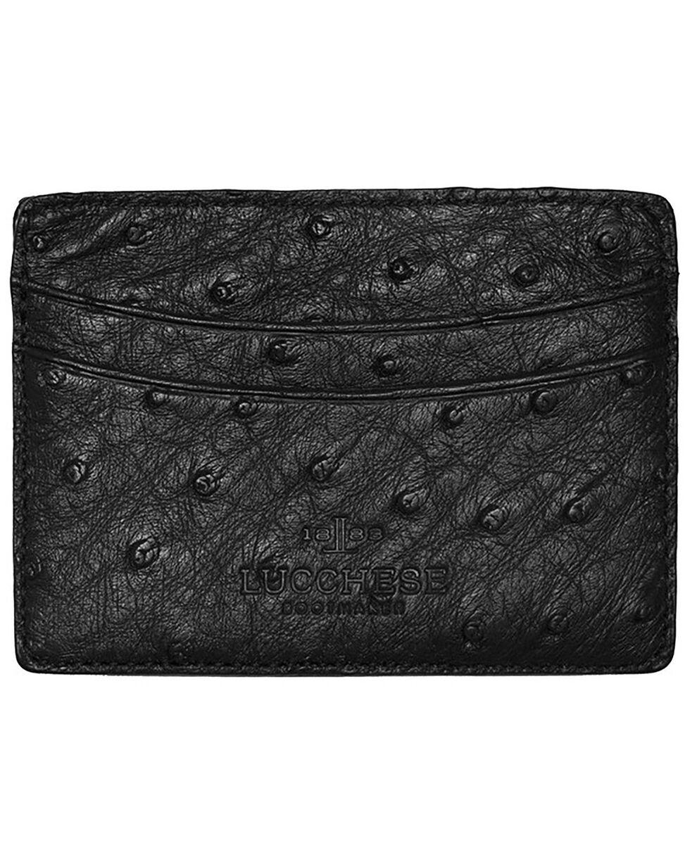 Lucchese Men's Black Ostrich Credit Card Case, Black, hi-res