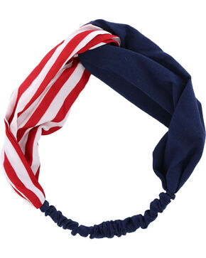 Shyanne® Women's Americana Stripe and Solid Headband , Red/white/blue, hi-res