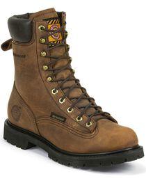 Justin Men's Waterproof Lace Up Work Boots, Tan, hi-res