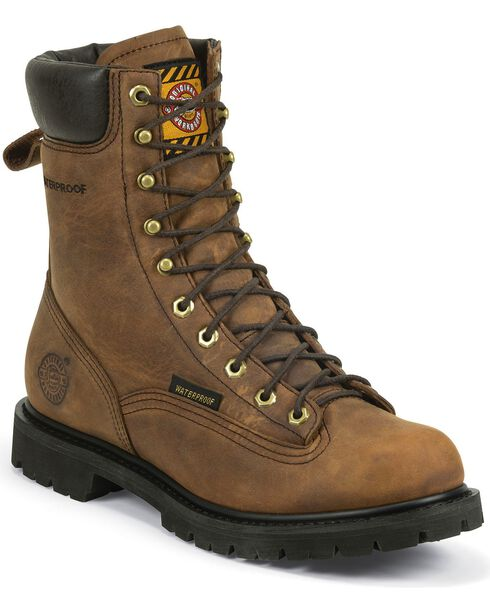 Justin Men's Waterproof Lace Up Work Boots, , hi-res