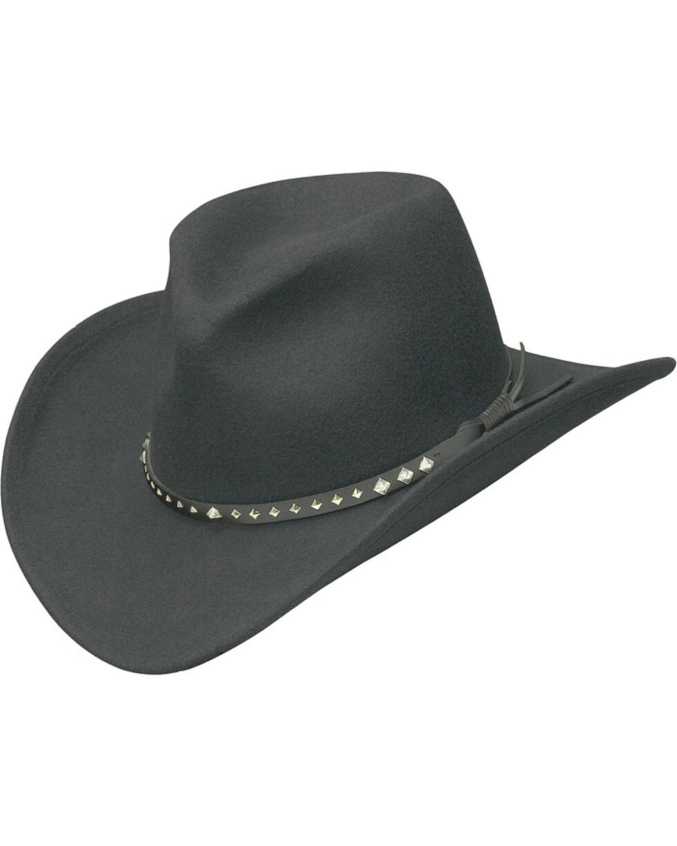 Western Express Men's Black Wool Felt Silver Diamond Concho Hat, Black, hi-res